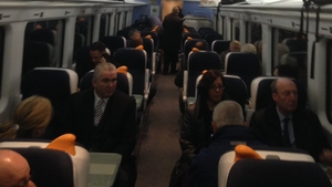 Shane Ross was among the passengers today as the Phoenix Park tunnel opened (pic: @IrishRail)