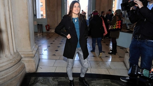 Katie Taylor at today's press conference in Dublin