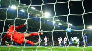 Riyad Mahrez scores Leicester's second from the penalty spot