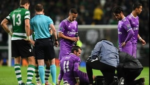 Gareth Bale receiving treatment during last November's Champions League match with Sporting Lisbon