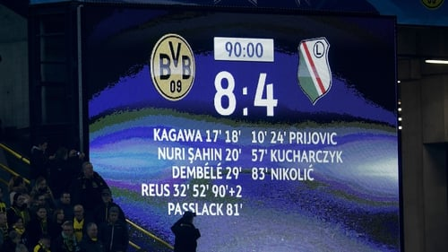 Dortmund and Legia shared a record 12 goals
