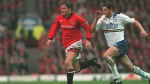 David White (right) in action against Manchester United in 1995
