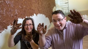 Fiona Kearney, Director of The Glucksman, and Prof John Cryan check out Thomas Rentmeister's Nutella painting
