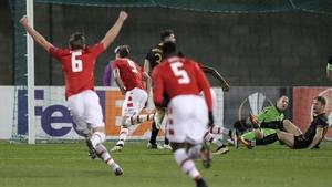 AZ Alkmaar's Wout Weghorst celebrates the only goal of the game