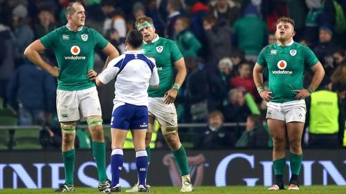 Referee Jaco Peyper addresses Jamie Heaslip during Ireland's defeat to New Zealand