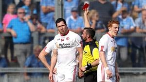 Seán Cavanagh is shown a red card by referee David Gough
