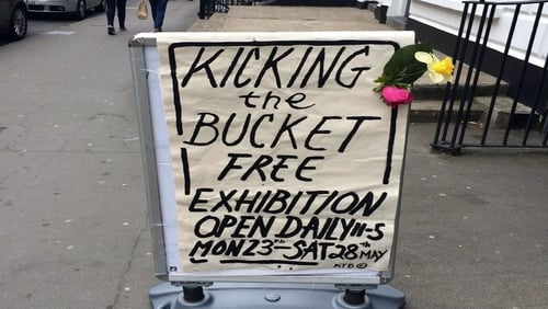 Sign outside the exhibition on O'Connell Street, Limerick