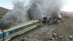 A train crashed into another which had broken down