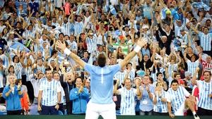 Juan Martin del Potro celebrates in front of jubilant Argentinian fans