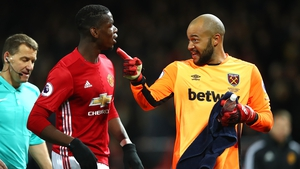 Darren Randolph had words with Manchester United's Paul Pogba at half-time on Sunday