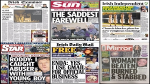 Apart from the savage attack on a 37-year-old woman in Limerick, none of today's papers run with the same lead story.