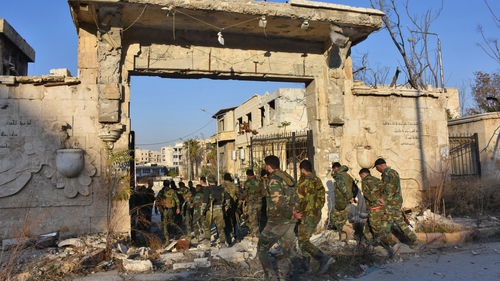 Syrian pro-government forces gather in Aleppo