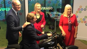 Ministers Simon Coveney (L) and and Mary Mitchell O'Connor (R) with Voxpro founders Dan and Linda Kiely