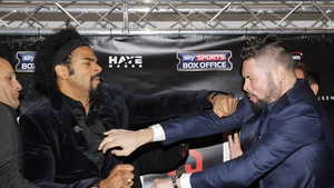 David Haye and Tony Bellew brawl at the Dorchester Hotel in London