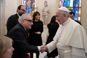 Martin Scorsese met with Pope Francis in the Vatican today. Pic: EPA