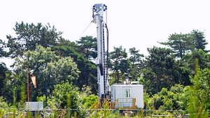 A fracking rig at Balcombe, West Sussex, Britain