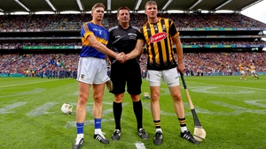 Tipperary's' Brendan Maher and Shane Prendergast of Kilkenny with referee Brian Gavin before the All-Ireland hurling final