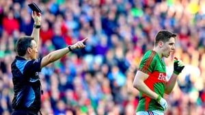 Maurice Deegan black cards Mayo's Lee Keegan in the All-Ireland final replay