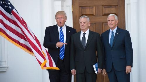 Donald Trump, James Mattis and Vice President-elect Mike Pence