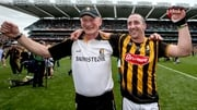 Brian Cody and Eoin Larkin celebrate on the Croke Park sod