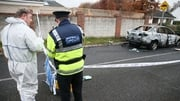 A burned out car was found close to the scene of the shooting in Lucan