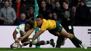 Marland Yarde touches down for an England try
