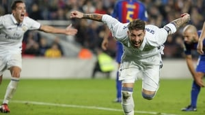 Real Madrid defender Sergio Ramos celebrates his late equaliser at the Camp Nou