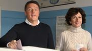 Prime Minister Matteo Renzi pictured with his wife Agnese Landini casting their votes earlier today