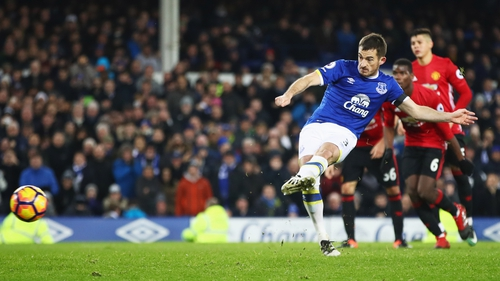 Leighton Baines converts from the penalty spot