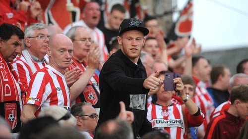James McClean with the Derry fans at The Brandywell