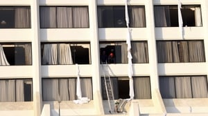 People injured as they leapt from the eight-storey hotel's upper floors to safety
