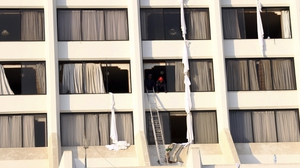 Some people leapt from the eight-storey hotel's upper floors to safety