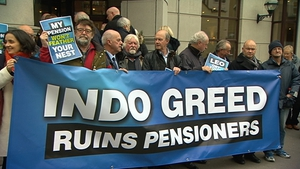 Current and former employees protested outside INM's EGM over significant cuts to their pension entitlements