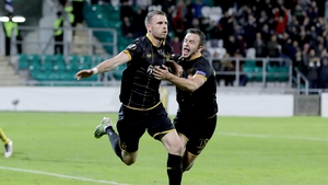 Dundalk's Ciaran Kilduff (l) celebrates his goal against Maccabi Tel-Aviv in the Europa League with Robbie Benson