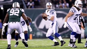 Andrew Luck (12) of the Indianapolis Colts looks to pass against the New York Jets