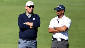 Europe and USA 2016 Ryder Cup vice-captains Thomas Bjorn and Tiger Woods at Hazeltine