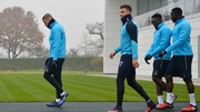 Toby Alderweireld (L) at Tottenham's training centre earlier today