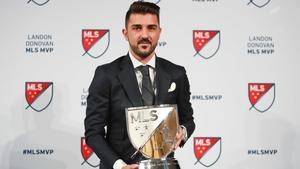 David Villa with his award in New York today