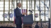 Barack Obama was making a speech at MacDill Air Force Base in Tampa, Florida