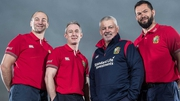 Andy Farrell (r) has been named in the Lions coaching set-up