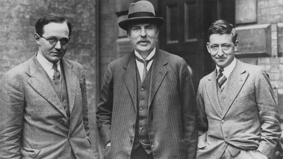 Dr Ernest Walton (1903 - 1995), Lord Rutherford (1871 - 1937), Nobel prizewinner for chemistry (1908) and Dr John Cockcroft (1897 -1967)