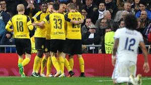 Dortmund players celebrate their second goal against Madrid