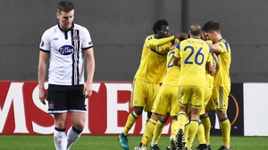 A dejected Patrick McEleneny walks away after Dor Miha scores  Maccabi Tel-Aviv's second goal