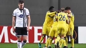 A dejected Patrick McEleneny walks away after Dor Miha scores Maccabi Tel-Aviv's second goal
