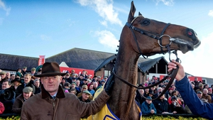 Willie Mullins and Douvan after winning the Novice Steeplechase last April at Punchestown