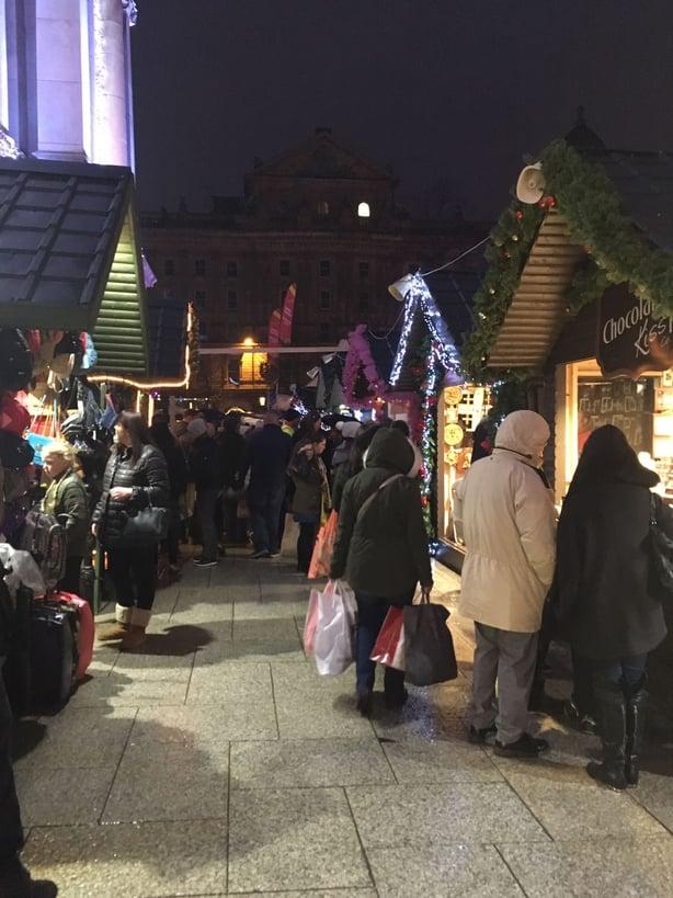 Christmas Market Belfast at night