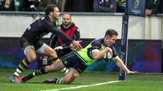 Rory O'Loughlin scores a try for Leinster after latching on to a kick from fellow European Rugby Champions Cup debutant Ross Byrne