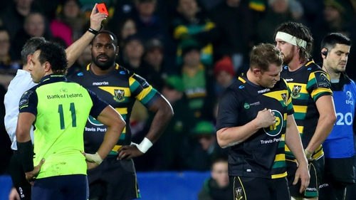 Dylan Hartley is sent of in the defeat against Leinster