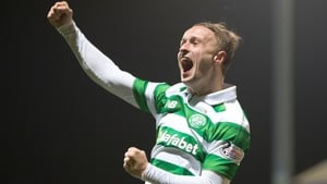 Leigh Griffiths celebrates scoring Celtic's third goal