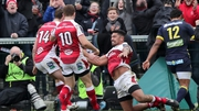 Charles Piutau celebrates Ulster's fifth try